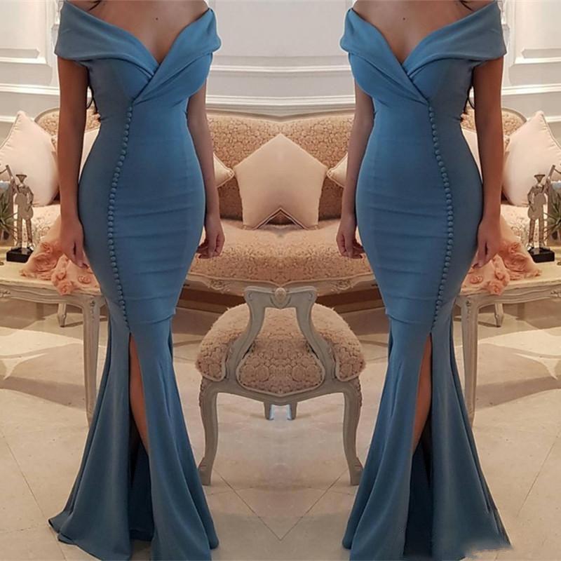 Elegant Off The Shoulder Mermaid Prom Dresses Side Split Sexy Satin Floor Length Mermaid Evening Gowns