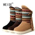 Weise 2017 nuevas botas de nieve botas de plataforma de las mujeres zapatos de invierno tobillo a prueba de agua botas de encaje hasta las botas de piel marrón negro botas cortas de gran tamaño