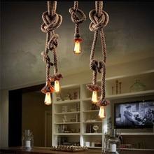 2016 new modern Retro Vintage Rope Pendant Light 450cm 2bulb Lamp Loft Creative Personality Industrial Lamp American Style