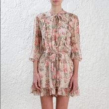24ee8859caf9 2018 Women s Folly Neck Peach Floral Gathered ruffles with picot edge Tie  Playsuit