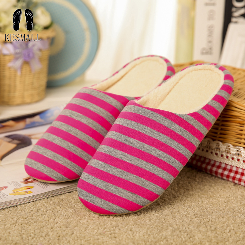 KESMALL Striped Soft Bottom Home Slippers Cotton Warm Shoes Women Indoor Floor Slippers Non-slips Shoes For Bedroom House WS313 home mop sweep floor dleaning duster cloth housework lazy convenience soft slippers shoes lt88