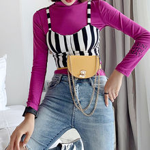 Fashion ins Snake Skin Half Round Waist Bags Women Mini Belt Bag with Chain Crossbody Small Bags Pu Leather Fanny Packs Ladies