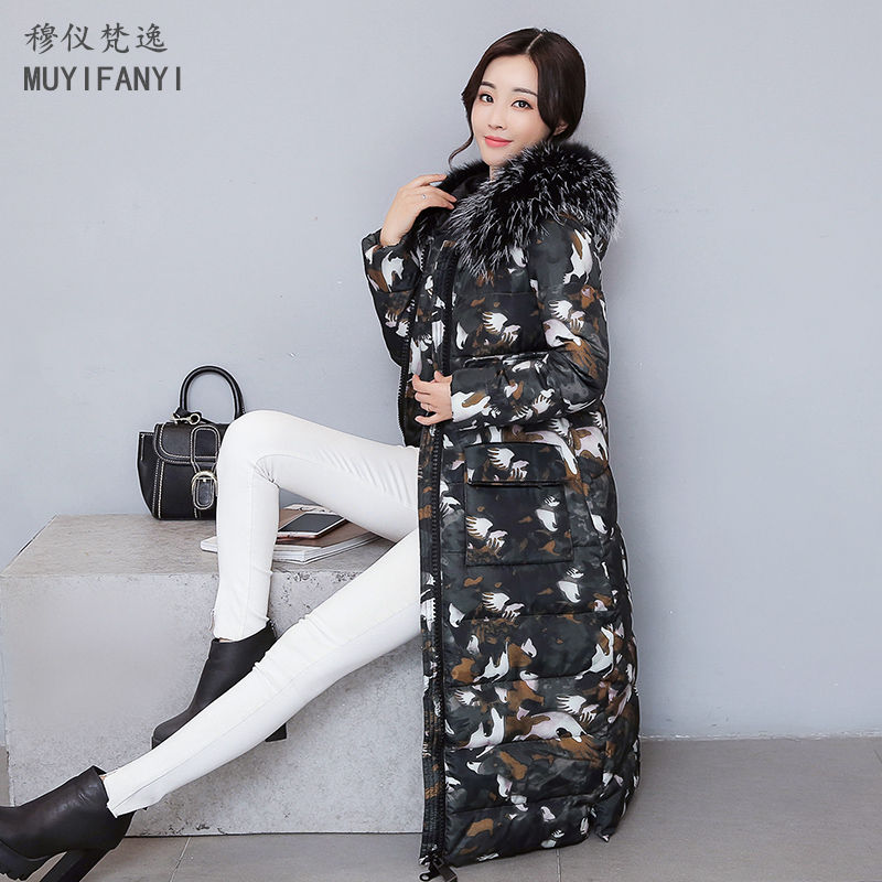 2017 Winter Coat Women Camouflage Fashion Large Fur Collar Thick Warm Down Cotton Long Jacket Parkas High Quality Outwear snow wear 2017 high quality winter women jacket cotton coats fur collar hooded parkas fashion long thick femme outwear cm1346