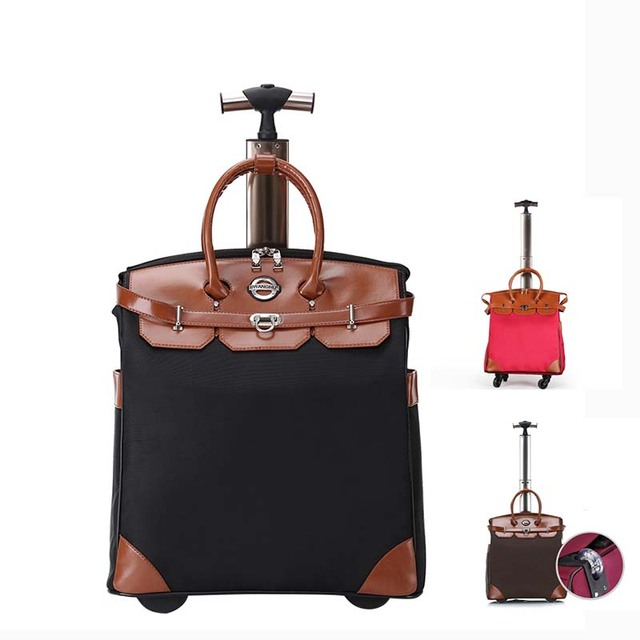 LeTrend High capacity Travel Bags Women Black Rolling Luggage Spinner Oxford Suitcase Wheels Trolley Students Carry on Trunk