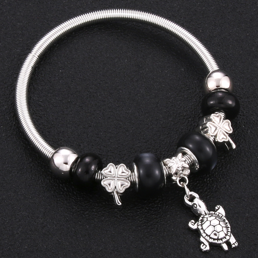 Best Birthday Gift Stainless Steel Antiqued Crown with Black Glass Necklace