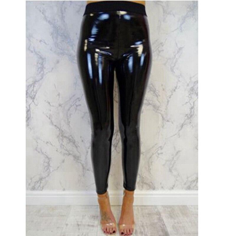 Women/'s Vinyl PVC High Waisted Legging Ladies Wet Look Party Fashion Pants UK