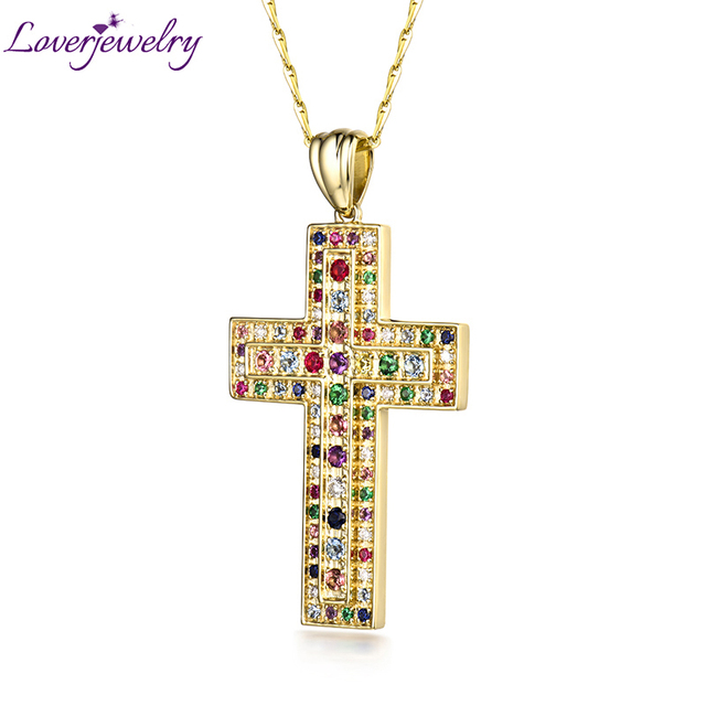 Fashion Hiphop Rock Cross Pendant Solid 14k Yellow Gold Colors Gemstones Diamonds Pendant Without Necklace Chain Party Jewelry