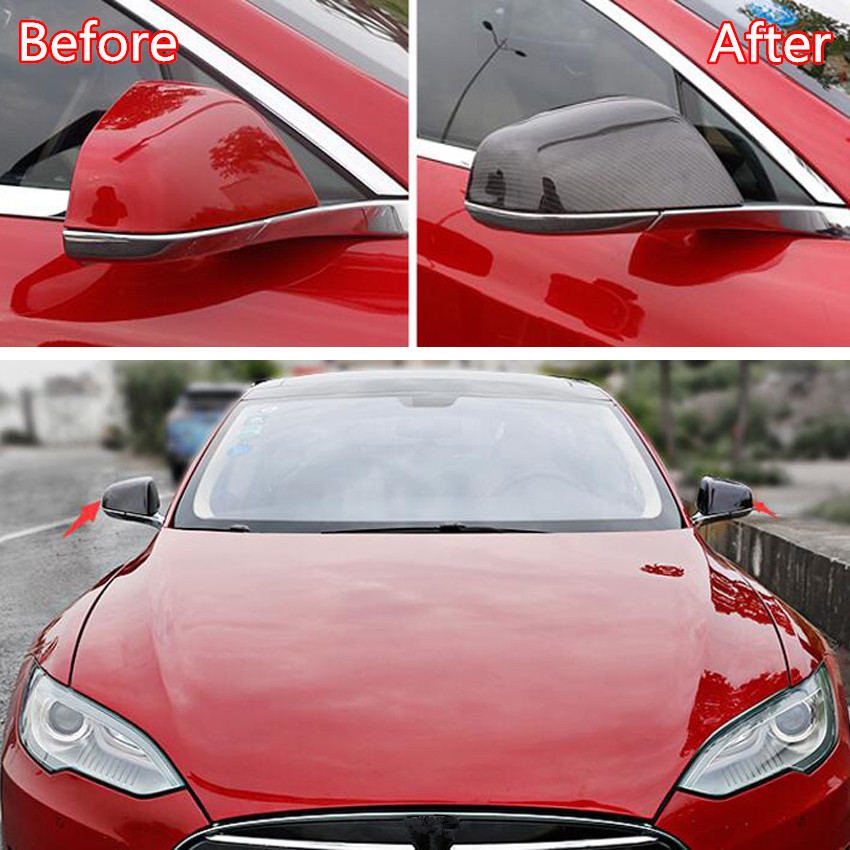 Fit For Tesla Model X 2016 2018 Car Rearview Mirror Cover Decoration Car Styling Exterior Accessories ABS 2 Colors|Chromium Styling| |  - title=