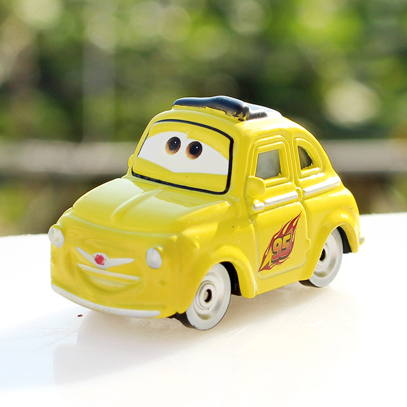 Funny Yellow 1 Pcs Pixar Cars Movie Luigi Metal Diecast Toy Car 1 55