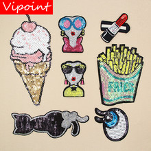 VIPOINT embroidery Sequins big belle patches foods lip eyes badges applique for clothing XW-85