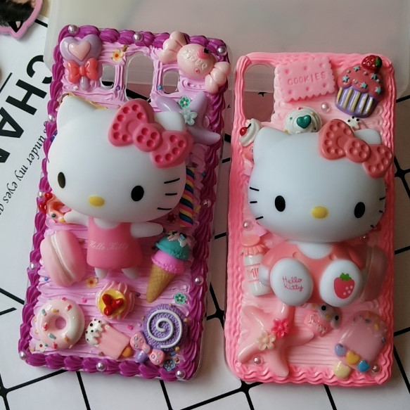 New For iphone  8/ 7 plus DIY case 3D KT cat phone cover for iphone 7 /6 6s plus handmade candy case girl gift for iphone X