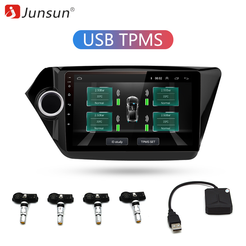 Junsun USB Tire Pressure Monitoring Alarm System Android navigation TPMS With 4 Internal Sensors for Car DVD Player Navigation