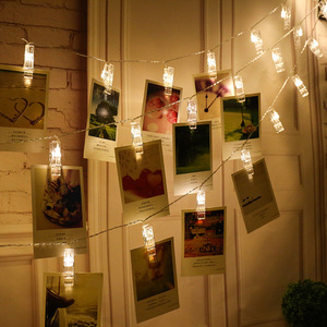 CHIZAO Photo Clip Holder Solar LED Colors String lights Battery Charging For Christmas Party Home Decoration Hanging Cards