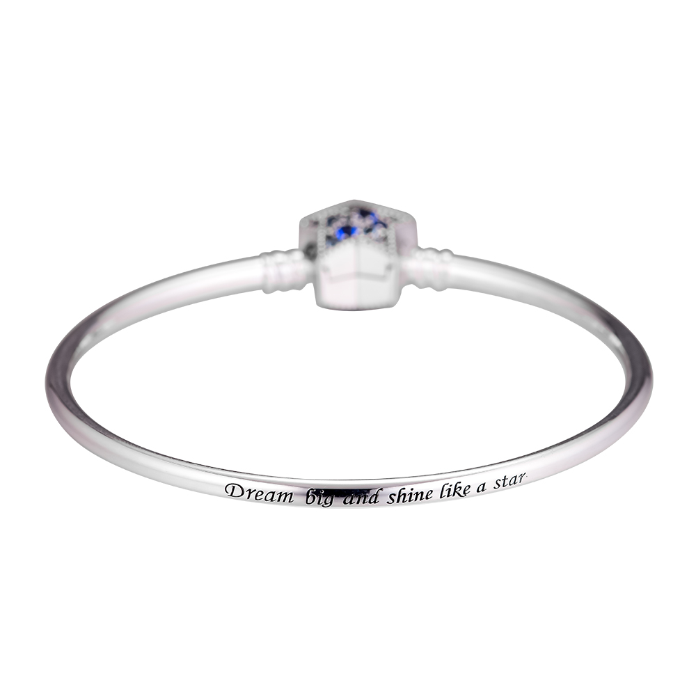 100% 925 Sterling Silver Moments Silver Bangle With Bright Star Clasp Fit Charm Beads DIY Fine Jewelry SLB066100% 925 Sterling Silver Moments Silver Bangle With Bright Star Clasp Fit Charm Beads DIY Fine Jewelry SLB066