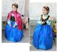 2016 новый летний детей платье принцессы лихорадка эльза костюм девушки дети девочки Vestidos ну вечеринку косплей одежда анна одевается