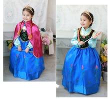 2016 New Summer Children Princess Dress Fever Elsa Costume Girls Dress Kids Girls Vestidos Party Cosplay Clothing Anna Dresses