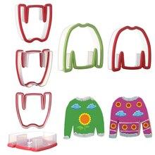 1 шт. или 1 комплект, дизайн, Рождественская одежда, свитер, формочки для печенья, силиконовая форма для печенья, тиснение, Sugarcraft, инструмент для выпечки на Рождество