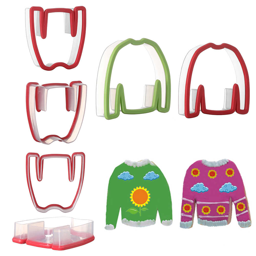 1PC or 1Set New Design Christmas Clothes Sweater Cookie Cutters Silicone Biscuit Mould Embossing Sugarcraft Xmas Baking Tool