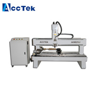 Customized Double Heads 2 Axis Rotary Axis CNC Router Wood Turning Lathe Machine For Stair railings AKM0215 2