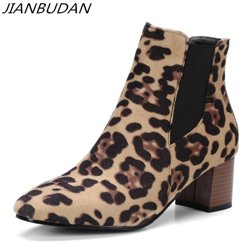 JIANBUDAN Brand high heel suede Ankle boots women 39 s Casual Autumn boots Elastic band leopard sexy female Pumps 34 46 large size in Ankle Boots from Shoes