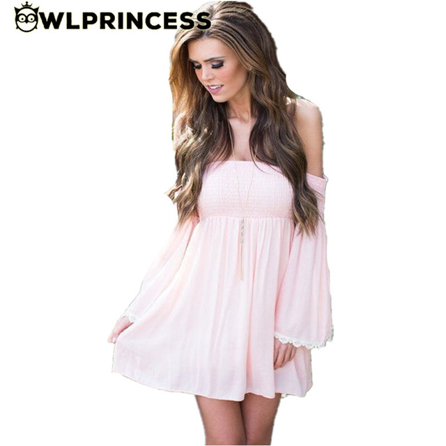 73d45121823f Owlprincess Hot Pink New Dress 2016 Summer Women Plus Size Sexy Chiffon off  shoulder dresses Cute Backless dresses vestidos
