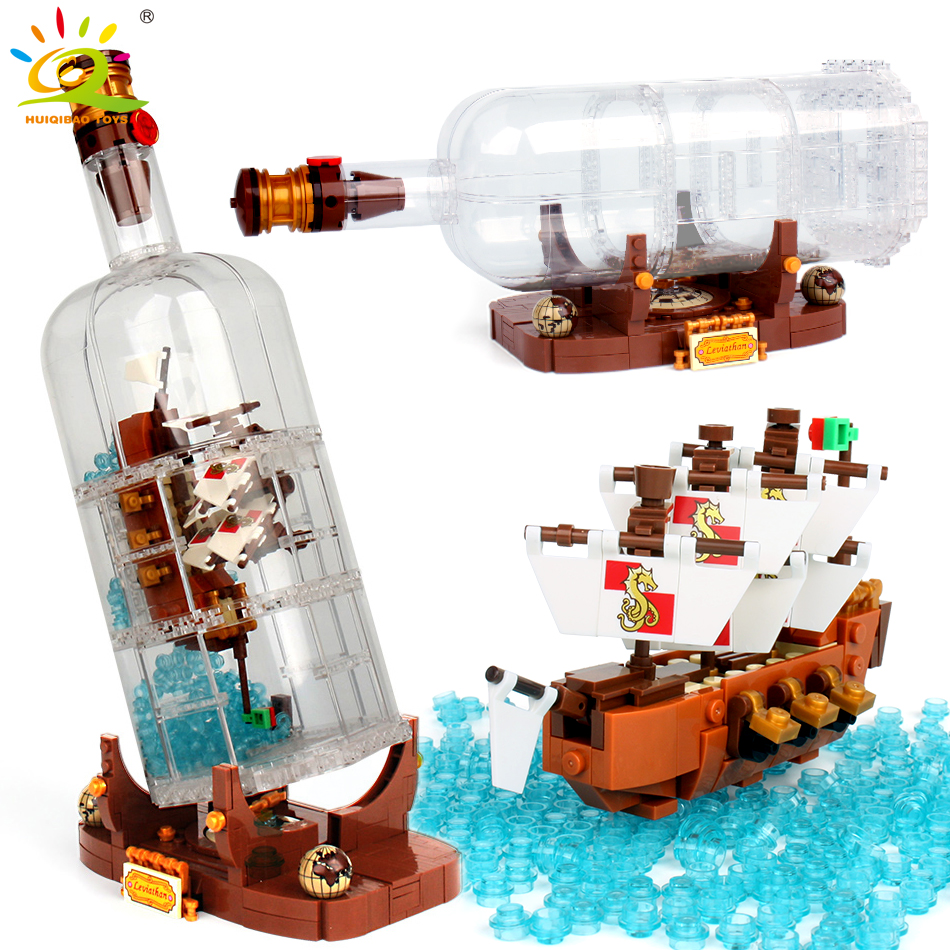 1080Pcs Pirates of the Caribbean Boat in the bottle building blocks Compatible Legoed ideas city creator brick Toys For Children attack of the morro dragon 70736 building blocks model toys for children bela 10400 compatible legoed ninja brick set