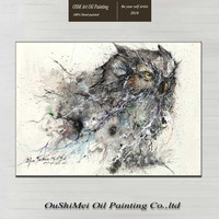 Hand painted High Quality Abstract Owl Oil Painting On Canvas Handmade Flying Animal Owl Oil Painting For Home Decor