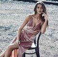 2017 nueva moda sexy profunda v-cuello de la alta cintura de terciopelo vestidos correa de espagueti de split envuelto medio corto del partido del vestido vestidos p8927