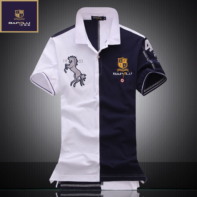 summer New   polo   shirt men lapel spell color breathable 100% cotton casual Business   POLO   shirt bapalu Brand