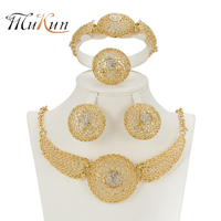 SHILU Women African Beads Jewelry Sets Gold Color Statement Necklace Dubai Turkish Indian Wedding Bridal Party