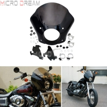 Smoke Gauntlet Fairing Headlight Cowl w/ Bracket Kit For Harley Sportster 1200 Iron 883 Roadster Super Low Seventy-Two 1986-2016 цены онлайн
