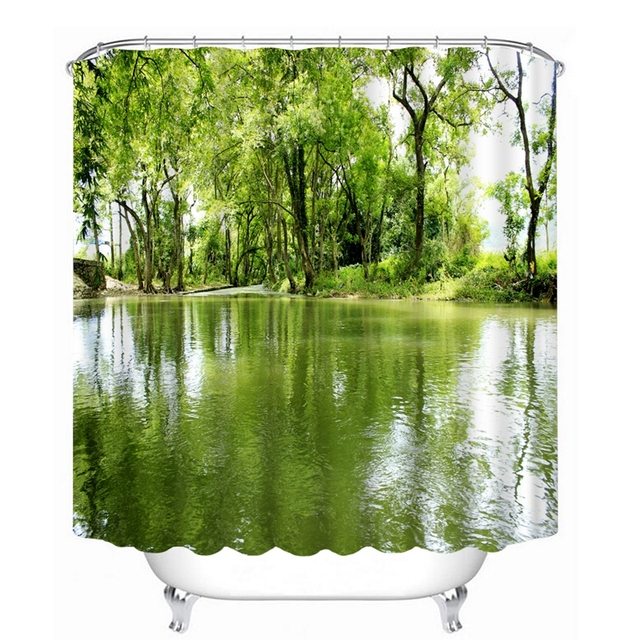 3D Shower Curtains Country Small River Printing Waterproof ...