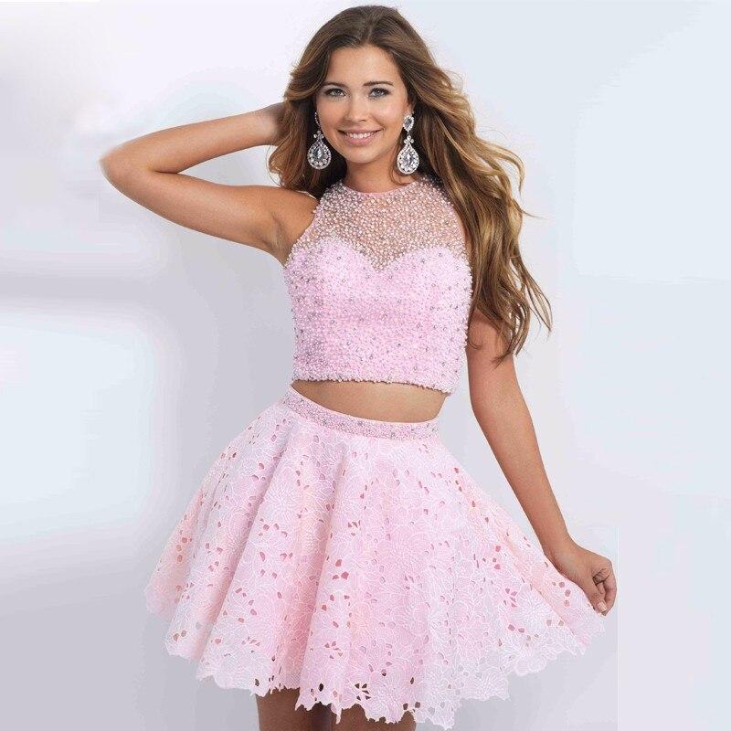 Brillante corto vestido Rosa Con Cuentas Barato Lindo de octavo ...