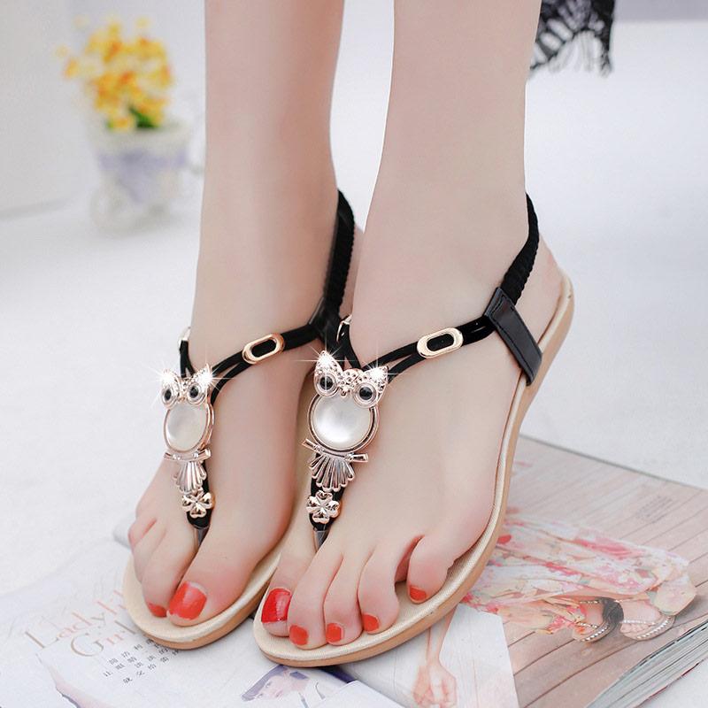 Women shoes 2019 hot fashion women sandals elastic t strap bohemia beaded owl slipper flat sandals Innrech Market.com