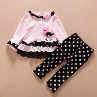 Drop Shipping 2015 Spring Baby Girls Pink Flowers 2pcs Suit T Shirt Dress Dot Pants Sweet