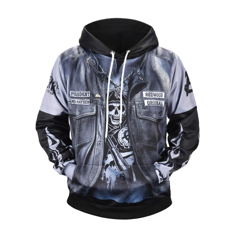 Spring Summer  New Arrival  TV Sons Of Anarchy Cosplay Costume Mens Womens 3D Printed Hoodie  Coat Jacket  Sweatshirts Hoodie