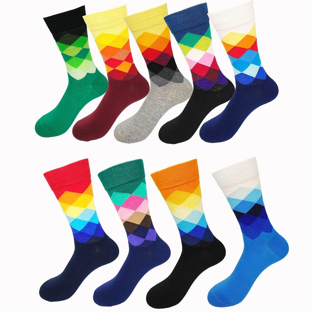 Male Tide   Socks   Gradient Color Paragraph Style Cotton Men's Knee High Business   Socks   EUR36-43