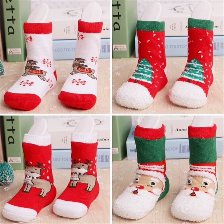 Φ_ΦCotton Christmas Socks Kids Girl Boys New Year Children\'s Sock ...