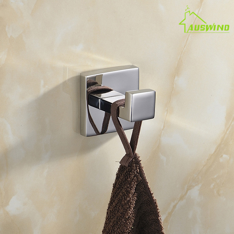 Chrome 304 Stainless Steel Bathroom Towel Hook Wall Mounted Polished Robe Hook Bathroom Accessories Set Wall Hook Coat Hook