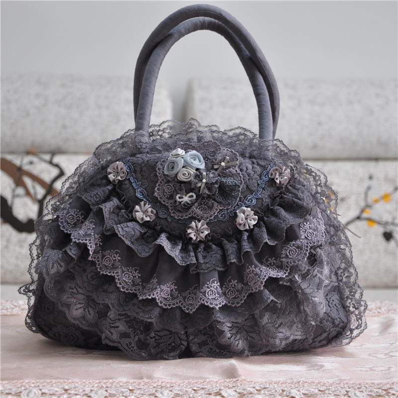 Women Totes Lace Handbags Floral Lolita Bags Gray Luxury Shell Women Bride Wedding Bags Handmade Vintage Evening Party Bags