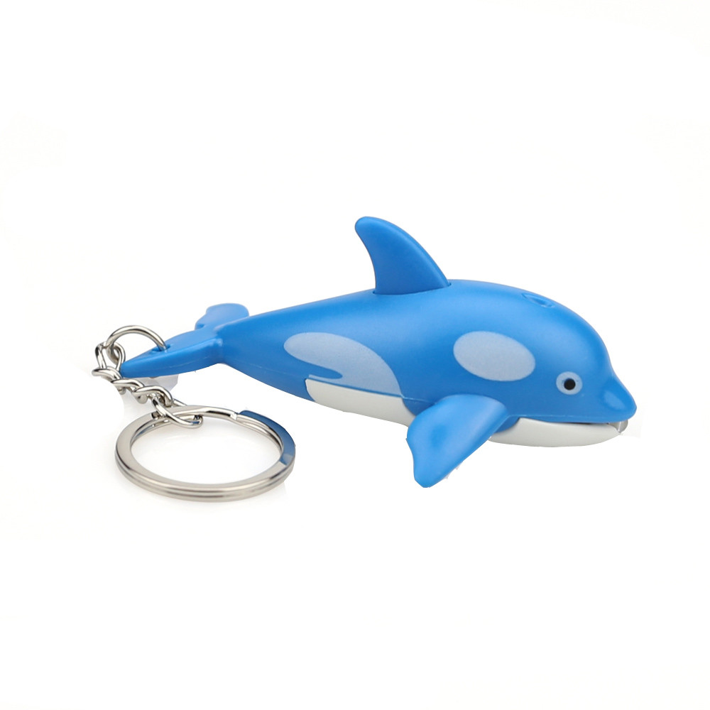 Educational Dinosaur Cute Cartoon Dolphin Keychain With LED Light And Sound Keyfob Kids Toy Gift Model Kids Children Toy W509