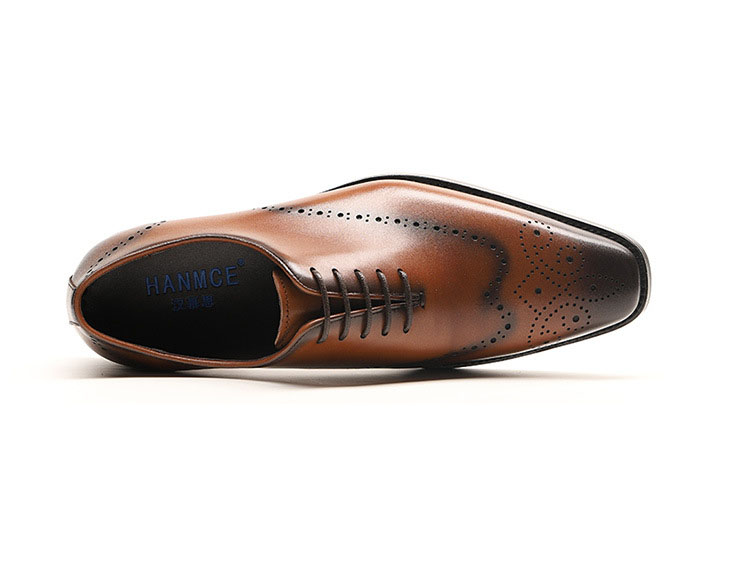 Genuine Cow Leather Italian Formal Shoes Men Designer Dress Shoes Black Brown Lace up Fashion Retro Brogue Shoes in Formal Shoes from Shoes