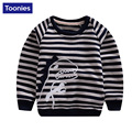2016 New Spring&Autumn Children Hoodies Kids High Quality Striped Print Baby Boys Girls Cartoon Cotton Sweatshirt 2 Color
