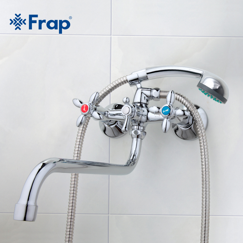 Frap Brass Bathroom Faucet shower Bathtub Faucet cold hot water Mixer tap torneira Double handle wall Mounted Long trunk faucet frap classic shower faucet long trunk bathroom bathtub mixer hot and cold water dual control f2227d
