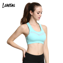 LUKITAS Women Fitness Sexy Mesh Solid Quick Dry Breathable Elastic Yoga Jogging Exercise Workout Nylon Removable Pad Sports Bra