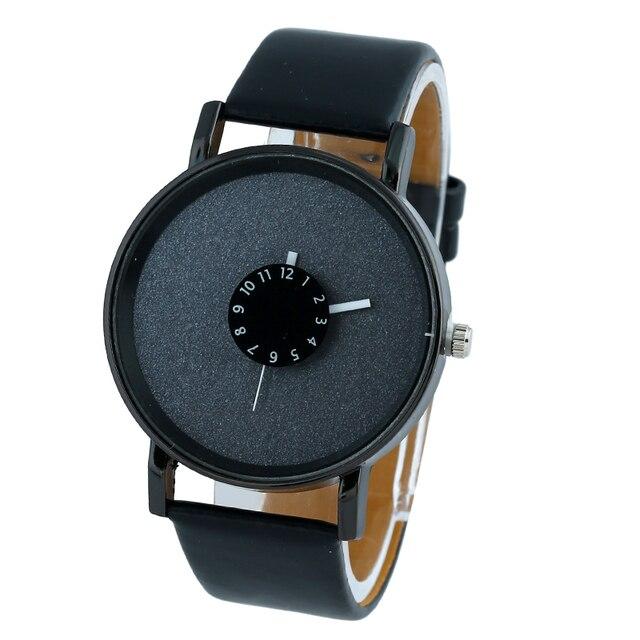 3ac45512746 Mulheres Relógio minimalista Gnova brilhantina gloss black dial PU de Couro  Vestido de relógio de pulso