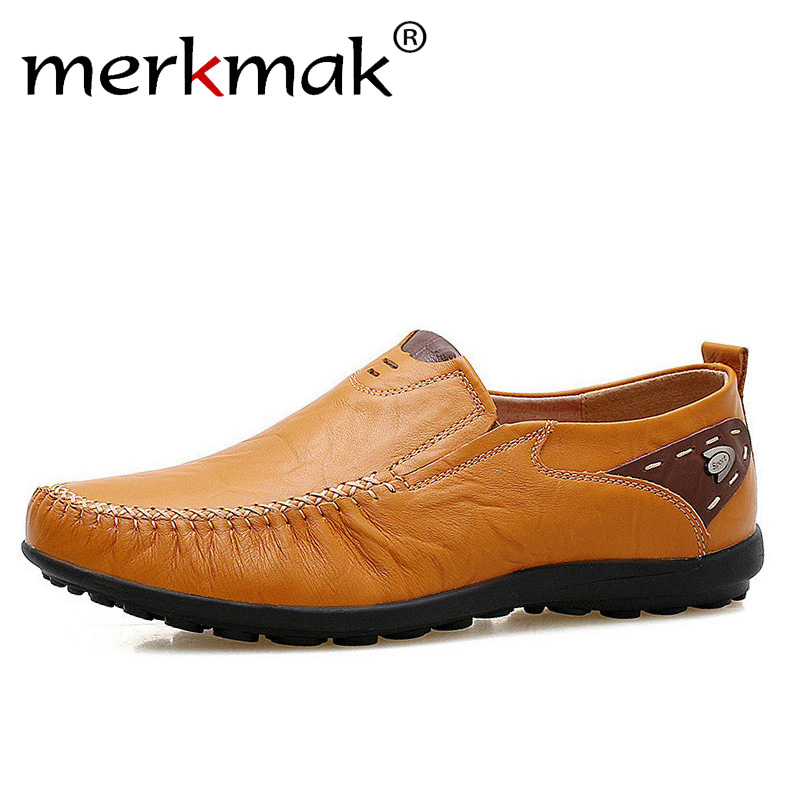 Merkmak Soft Leather Men Loafers New Handmade Casual Shoes Men Moccasins For Men Comforable Leather Flat Shoes big size 39-47 assemble diy doll house toy wooden miniatura doll houses miniature dollhouse toys with furniture led lights birthday gift