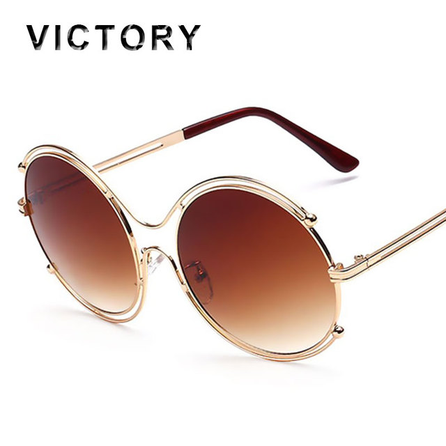 090d8447a8 VictoryLip 2016 New Oversized Round Sunglasses Luxury Women Italy Brand  Designer Bling Frame UV400 Mirror Sun Glasses Female