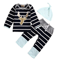 3pcs Newborn Infant Baby Boy Girl Clothes Long Sleeve Cotton Striped Hat Bodysuit Pant Outfits Toddler Kids Clothing Set 0-18M