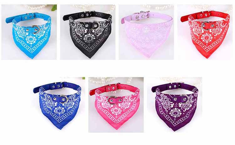 Cute Small Dog Collars Puppy Pet Slobber Towel Puppy Dogs Cats Scarf Adjustable Designer Dog Collar Black Pink Red Blue Purple Wholesale1